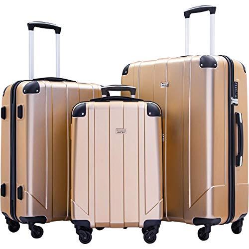 Merax Luggage Sets with TSA Locks, 3 Piece Lightweight P.E.T Luggage 20inch 24inch 28inch (Champagne)