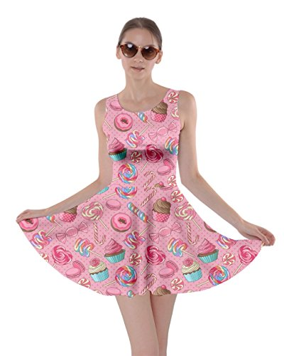 CowCow Womens Pink2 Yummy Colorful Sweet Lollipop Candy Macaroon Cupcake Donut Skater Dress, Pink2-3XL