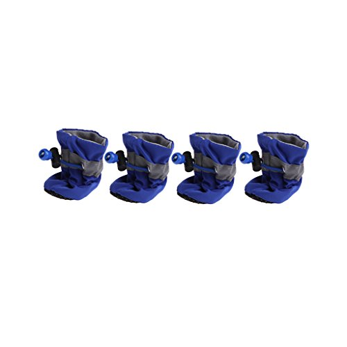 Lyguy Hundeschuhe für Hunde, wasserdichte Hundeschuhe, Regen, Schnee, Gummistiefel, Rutschfeste Schuhe für kleine Hunde und Welpen - 5 cm - blau