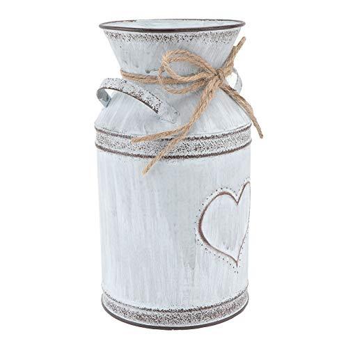 UPKOCH Shabby Blumentopf Deko Milchkanne Metall Krug Pflanzentopf rustikal Vintage Blumenvase Landhaus Stil Vase Tisch Herzstück für Zuhause Wohnzimmer Dekoration Weihnachtsdeko 19,5 cm hohe
