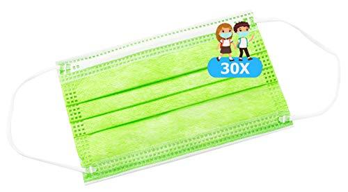 TBOC Nicht wiederverwendbare Hygienemaske für Kinder - [Packung 30 Einheiten] 3 Schichten [Grün]