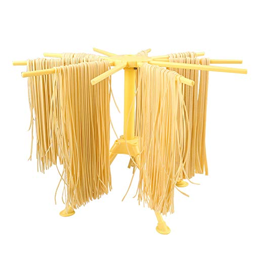 Ourokhome Foldable Pasta Drying Rack- Plastic Spaghetti Noodle Dryer with 10 Bar Handles (Yellow)