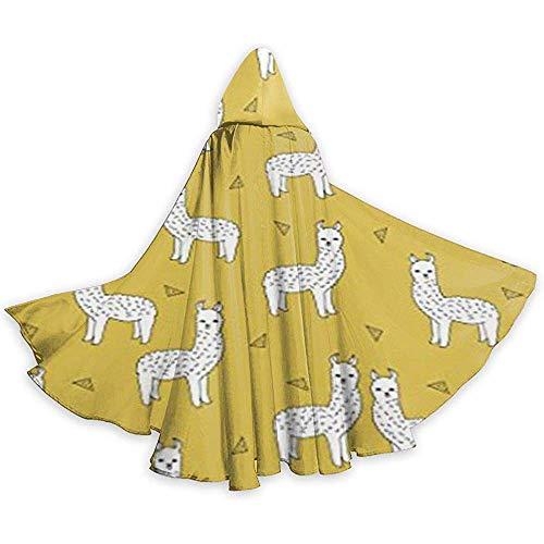 Lama Senfgelb Tunika für Erwachsene mit Kapuze Ritter Halloween Mantel Robe Kostüm Weihnachten, 59Inch (150,40Cm)