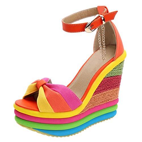 Espadrilles Damen Sommer Keilabsatz Plateausohle Sandalen Regenbogen Frauen Elegante Sandaletten Bequeme Strandsandalen Schöne Sommerschuhe Celucke (Orange, 37 EU)