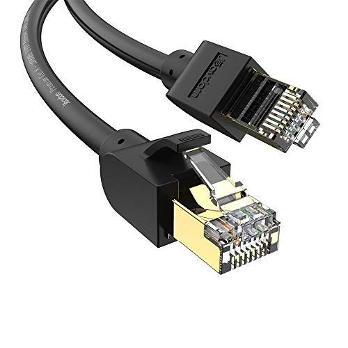 Jeavdarn Cavo Ethernet Cat 8, Cavo LAN 10 Metri 40Gbps 2000Mhz Alta velocità Cavo di Rete S/FTP con connettori RJ45 per PC, PS4, Modem, Router, Xbox, Compatibile Cat 7 Cat 6 Nero