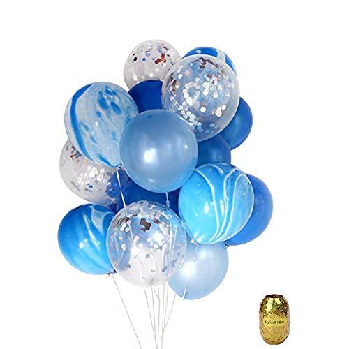 Yuccer Palloncini di Confetti, Coriandoli Lattice Balloons per Decorazioni Party Matrimonio Compleanno 12 Pollici (Blu)