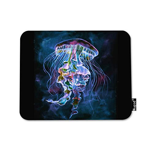 Mugod Jellyfish Mouse Pad Sea Life Medusa Feeler Palpus Ocean Underwater Natural Gaming Mouse Mat Non-Slip Rubber Base Mousepad for Computer Laptop PC Desk Office&Home Working 9.5x7.9 Inch