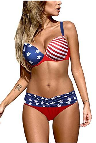 Astylish Women Elegant Vintage Push Up Padded Two Piece Low-Rise Bikini Set Swimsuit Multicolor Large 12 14