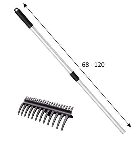 UPP 2-in-1 Rechen | Rechen, Harke und Kultivator in einem Gartenwerkzeug | Spezialkunststoff leicht und super bruchsicher | Rasenrechen mit Langen und kurzen Zähnen [klein, mit Alu Teleskopgriff]