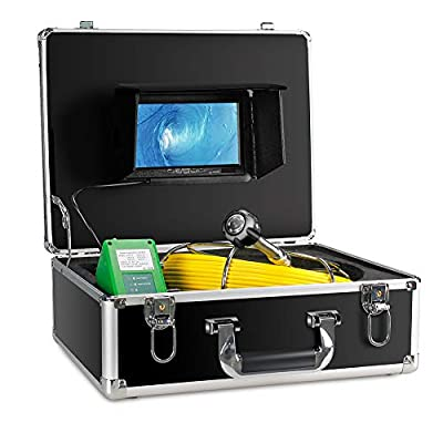 Sewer Camera 100ft,Sewer Inspection Camera Inspection Camera Pipeline Drain Industrial Endoscope IP68 Waterproof Snake Video System with 7 Inch LCD Monitor 1000TVL Sony CCD DVR Live Recorder