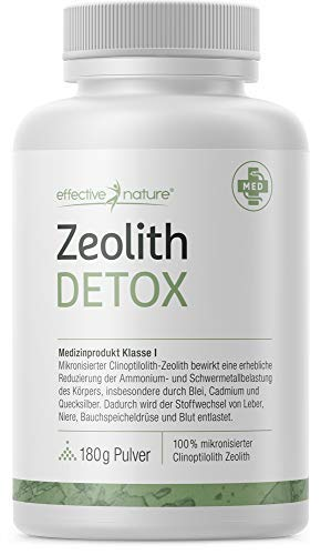 effective nature - Zeolith Detox - Zertifiziertes Medizinprodukt zur Bindung von Schwermetallen - Natürliche Mineralerde - Produziert in Deutschland - 180 g Pulver
