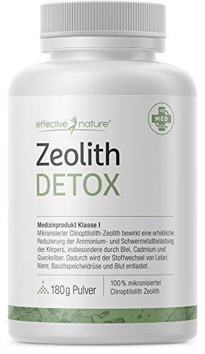 effective nature - Zeolith Detox - 180 g Pulver - Zertifiziertes Medizinprodukt zur Bindung von Schwermetallen - Natürliche Mineralerde - Produziert in Deutschland