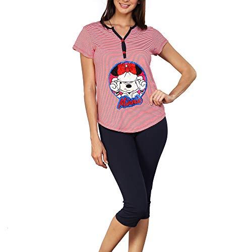 Pijama Mujer Disney Mickey Mouse Blusa Y Pantalon Dama DIS-9279 (Med)