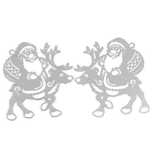Artibetter Fustelle da Taglio Natalizie Stencil Babbo Natale Che Cavalcano Fustelle di Renne Modello Fai da Te Goffratura di Natale Fustelle da Taglio Strumento per Fare La Carta 9. 6X10. 5