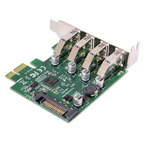 Xiwai Adaptador de tarjeta de expansión PCI Express de perfil bajo de 4 puertos PCI-E a USB 3.0, 5 Gbps para placa base