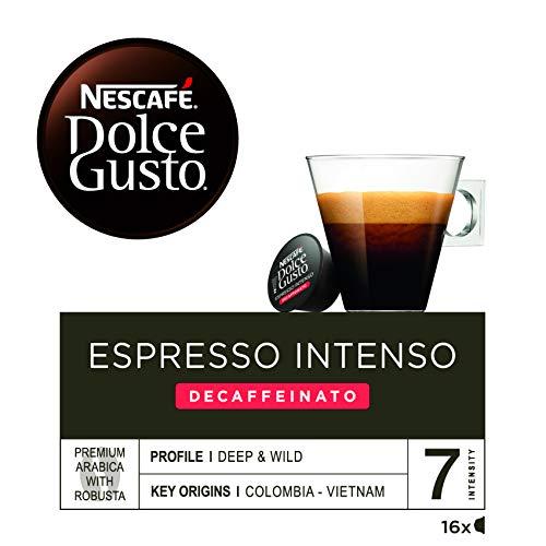 NESCAFÉ Dolce Gusto Café Espresso Intenso Descafeinado, Pack de 3 x 16 Cápsulas - Total: 48 Cápsulas de Café