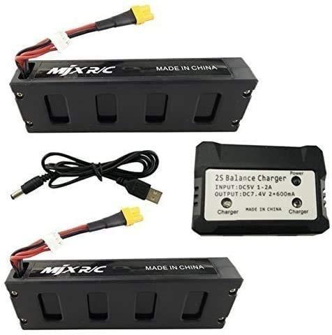 ZYGY 2PCS 7.4V 1800mAh Batería +7.4V 2 en 1 Cargador de Equilibrio para MJX B3 B3H Bugs 3H Bugs 3 F17 F100 RC Drone sin escobillas Batería Repuesto