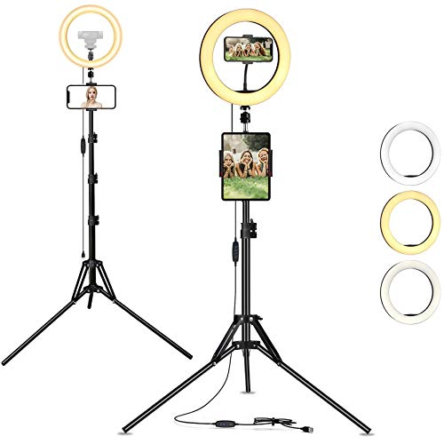 AYIZON 30cm Anillo de luz + Trípode + Soporte para Teléfono y Tablet + Soporte para Cámara Web, kit de luz LED regulable compatible con iPhone, iPad, Logitech StreamCam C920 C930 C922 C615 Bri