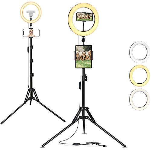 AYIZON 30cm Anillo de luz + Trípode + Soporte para Teléfono y Tablet + Soporte para Cámara Web, kit de luz LED regulable compatible con iPhone, iPad, Logitech StreamCam C920 C930 C922 C615 Brio C925