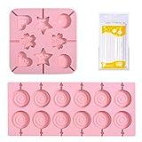2PCS Piruletas Molde de Silicona, DIY Piruletas Moldes, Hornear de Bricolaje Piruletas, con 40 Palos de Papel, para Hacer Chocolates, Galletas, Piruletas (Rosa)