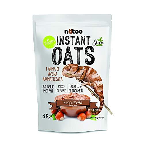 Natoo Instant Oats - Farina di avena aromatizzata a basso indice glicemico - alto contenuto di fibre - solo 1gr. di zuccheri - 1Kg