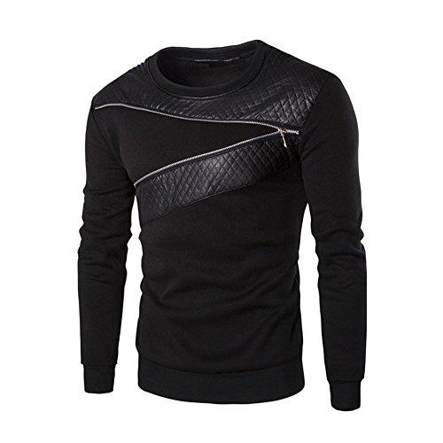 FRAUIT Herren Basic Leder Sweatshirt Kapuzenpullover Sweatjacke Pullover Hoodie Sweatshirt Warm Mantel Jacke