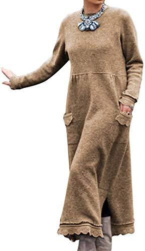 HAPPKING Damen Rundhals Vlieskleider Frauen Langarm Lose Pulloverkleid Casual Sweatkleid Winterkleid Partykleid Einfarbig Lang Maxi Kleid Große Größe (Farbe : Braun, Größe : XL)