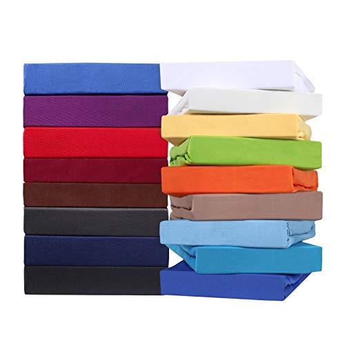 leevitex Premium Topper Boxspringbett Spannbettlaken | 100{5c72c78642ee49b164cefe8b849290bc760c685950169bb96e7e9bd6ad37c765} Mako-Jersey-Baumwolle | ÖKO-TEX | 170g/m² | 180 x 200 - 200 x 220 | Sand/Cappuccino | 18 cm Steg