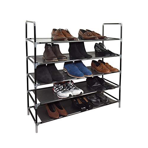 Vinsani - Zapatero para 25 pares de zapatos con estantes ajustables (2 unidades, 88 x 91 x 28 cm), color negro