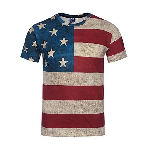 Camisetas Manga Corta Hombre, 3D Impresión T Shirt El Verano Sport Polo Camisa Bandera Estadounidense Moda tee Shirt Camisa