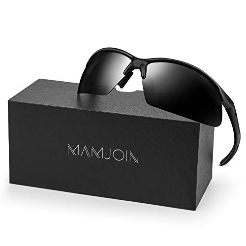 Mamjoin Polarized Sports Sunglasses for Men Women UV400 Protection Sunglasses for Cycling Driving Fishing Golf Baseball Running Hiking Outdoor Sports, Safety HD Glasses, TR90 Frame (Black Mirror)