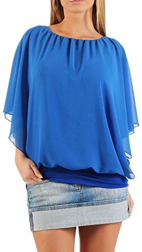 Damen Bluse im Fledermaus Look   Tunika mit Rundhals und breitem Bund   Blusenshirt Kurzarm   Elegant - Shirt 6296 (blau)