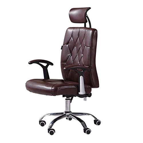 Reclining Chair Computer Chair Home Office Chair Multi-Function Leather Swivel Chair Staff Swivel Chair (Color : Brown)
