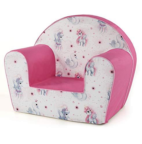 MuseHouse - Kindersessel. Kuschelig weicher Schaumstoff. Kinderstuhl zum Spielen. (UnicornPink)
