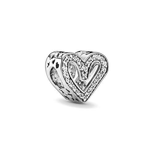 LILANG Pulsera de joyería Pandora 925, Cuentas de corazón caladas para Auriculares Naturales, abalorio Colgante Apto para dijes Originales, Regalos de Bricolaje para Mujeres