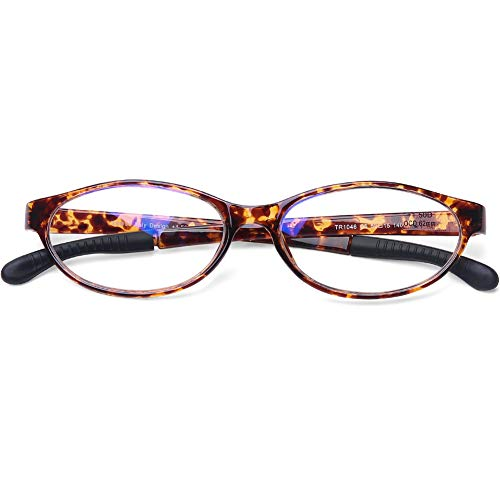 DOOVIC Blaulichtfilter Lesebrille für Damen/Herren Horn Cateye Schildpatt Vollrand Flexible Anti Rutsch Computer Brille 2,0