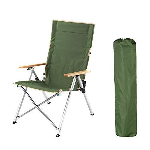 YiLuFanHua Silla De Camping Plegable, Silla Plegable con Respaldo Alto Solo 4 Kg Tumbona para Exteriores Plegable con Bolsa Portátil Carga hasta 120 Kg,Verde