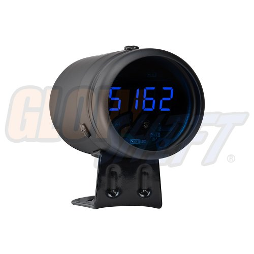 GlowShift Digital Tachometer & Shift Light - Black Housing & Blue LED - for 4, 6, 8 Cylinder Gas Powered Engines