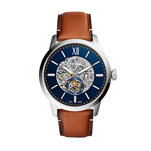 Fossil Herren Skeleton Automatik Uhr mit Leder Armband ME3154
