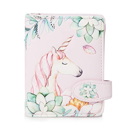 Shagwear ® Portemonnaie Geldbörse Damen Geldbeutel Mädchen Bifold Mehrfarbig Portmonee Designs: (Einhorn/Unicorn Pink)