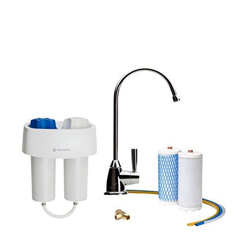Aquasana - Untertisch Wasserfilter Set (Premium) - AQ4601 - In Chrom oder Nickel erhältlich! - Entfernt bis zu 97% Chlor und Chloramine (Chrom)
