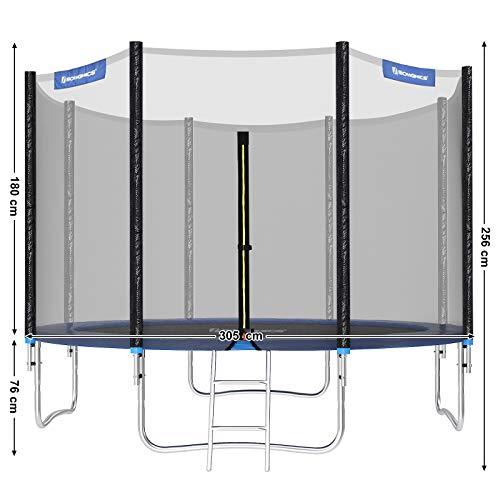 SONGMICS Trampolin Ø 305 cm, rundes Gartentrampolin mit Sicherheitsnetz, mit Leiter und gepolsterten Stangen, Sicherheitsabdeckung, TÜV Rheinland getestet, sicher, Outdoor, schwarz, blau STR10FT