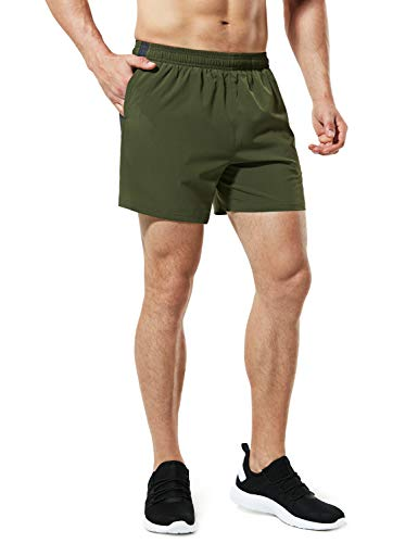 TSLA Men's Active Running Shorts, Training Exercise Workout Shorts, Quick Dry Gym Athletic Shorts with Pockets, 5 Inch(mbh25) - Army Green, Medium