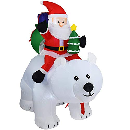 2m Christmas Decorations Outdoor Inflatables doll Santa Claus with Shaking Head Riding Polar Bear Santa Claus LED Light Xmas Decor for Indoor And Outdoor Garden Home Yard Shop Malloutdoor Patio