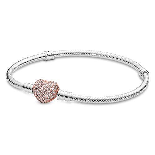 Pandora Moments 590727CZ - Braccialetto a maglia di serpente con chiusura a forma di cuore in argento Sterling con zirconi, compatibile con bracciali Pandora Moments, 18 cm, zirconia cubica,