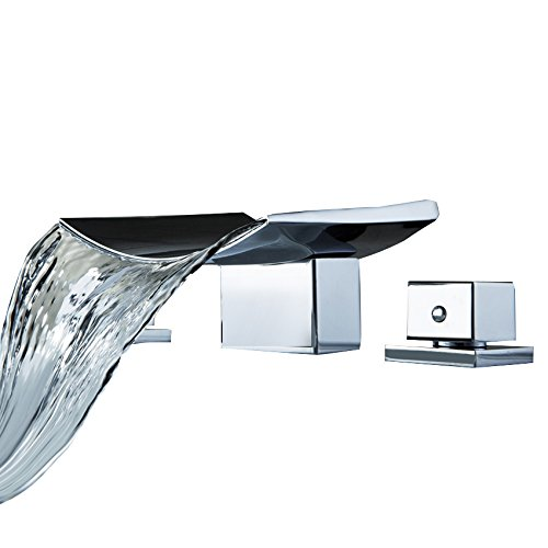 Lovedima Grop Contemporary Waterfall Widespread Sink Faucet Basin Filler Mixer Tap Deck Mounted