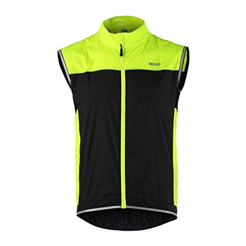 Tofern - Chaleco deportivo unisex, ligero, transpirable, para correr, bicicleta, deporte, verde, L