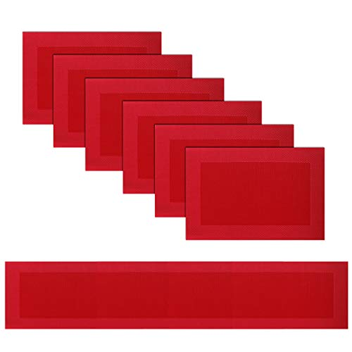 BECHEN Vinyl Placemats Set of 6 Vinyl Heat-Resistant Table Mats with Matching a Same-Style 72 inches Table Runner(7pcs,Red)
