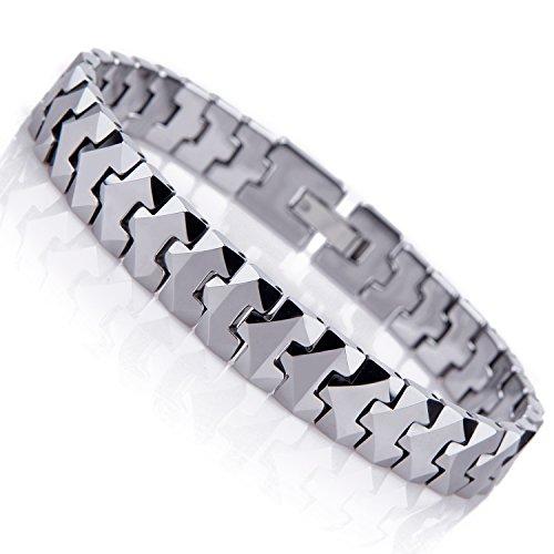 Pulsera única para hombre de tungsteno con estilo de piezas de puzle (plata, 10mm)