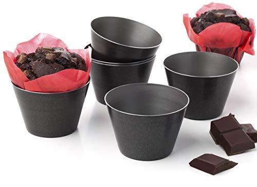 Set mit 6 antihaftbeschichteten Formen für Schokolade, Pudding, Becher, Himbeere, Souffle, Kuchen, Darioles, Auflaufförmchen, Brownies, Gläser, Popovers, Größe 8,1 cm